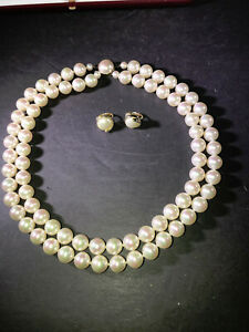 """H) VINTAGE MAJORICA 16.5"""" 2 STRAND SIMULATED PEARL NECKLACE CLIP EARRINGS BOX PA"""