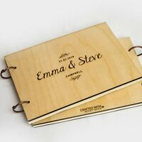 Custom Wooden Wedding Guest Book / Photo Album Rustic with Laser Engraved Names