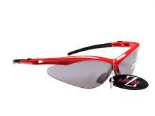 Occhiali e monolente da ciclismo con montatura in rosso con tecnologia lenti antiriflesso
