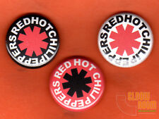 "Set of three 1"" Red Hot Chili Peppers pins buttons band flea logo"
