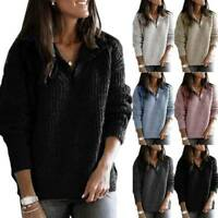Womens Zip V Neck Knitted Jumper Blouse Ladies Winter Warm Pullover Casual Tops