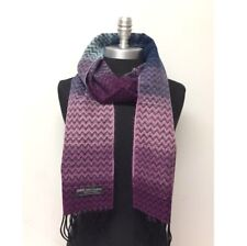 100% CASHMERE SCARF Chevron Purple pink Blue Black SCOTLAND SOFT Warm Wool Wrap