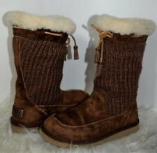 UGG  Banlieue Suburb Crochet Knit Boots Heather Size 6