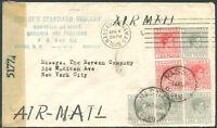 BAHAMAS TO USA Air Mail Censored Cover 1945 VF