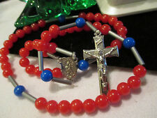 Beautiful Vtg. light weight Red, Blue & Silver Beaded Rosary w/ Mary ~ Free SHIP