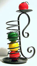 """New listing 4-1/2x8"""" Tall Wrought Iron Stack Candleholder w/handle, patina finish - set of 2"""