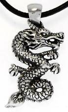 Chinese Dragon Silver Pewter Pendant Leather Necklace