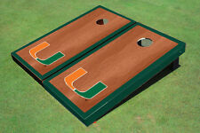 University Of Miami Green Rosewood Matching Borders Custom Cornhole Board