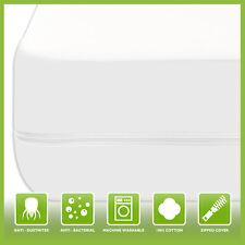 100% Cotton Zipped Mattress Protector Anti Allergy Bugs Mites Treated Encasement