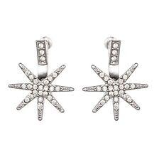 Pave Crystal Studded Silver Star Astral Ear Jackets Cuff Earrings Bar Stud Urban