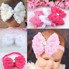 Soft Baby Girls Rose FLOWER Bow Hair Accessories Band Elastic Headbands Hairband