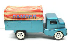 Vintage 1960's Structo Camper Truck Pressed Steel w/ 10.00-20 Wheels + Canopy