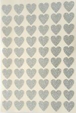 60 Sticky Adhesive Silver HEART Stickers 20 mm 4  Wedding Cards Albums Envelopes