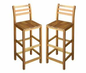 2 Wooden Bar Stools Kitchen Breakfast Pub Retro Rustic Chairs Set Indoor Outdoor