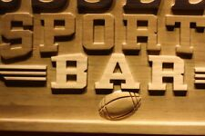 wpa0077 Name Personalized Sports Bar Footbal 3D Engraved Wooden Sign