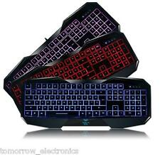 AULA 3-Color LED Illuminated Backlit Backlight USB Wired Gaming Keyboard for PC