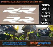 BMW S1000RR Fairing Decals. 2009-14 Gloss White & Silver Stickers