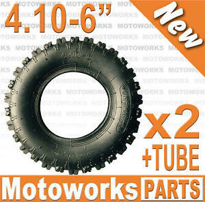 "2 x 4.10 - 6"" inch Tyre Tire + Tube ATV QUAD Bike Gokart Scooter Buggy Mower"