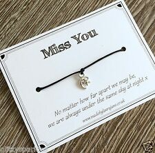 Miss You charm bracelet - friendship / love you / across the miles gift