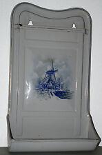 Emaille Fett-Löffelhalter, Windmühlenmotiv, gemarkt