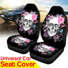 Universal 2 Front Car Seat Covers Skull Flower Pattern Cushion Truck Van Protect