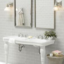 New York Light Grey Flat Metro Gloss Bathroom Kitchen Wall Tiles 10 x 20cm