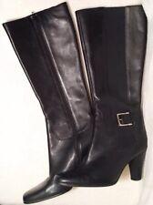 AK Anne Klein Women's Akmarcoe Iflex Black Leather High Heel Boots Size 7M