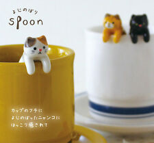DECOLE Japan Meow Cat Coffee Spoon resting on cup mug edge - 3-Color Cat