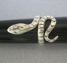 Mexican 925 Silver Taxco Oxidized Coiled Wrap Cobra SNAKE Unisex Ring Size 7.75