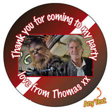 Personnalisé de han solo chewbacca birthday party stickers badge cake topper - 855
