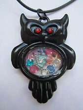 Living Memory Black Owl Locket with 7 crystals and charm USA
