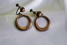 50's Vintage Textured Copper Hoop Screw Back Earrings