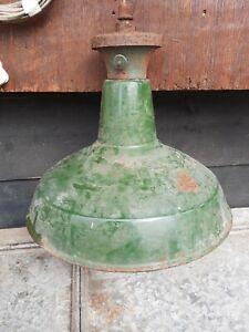 Vintage Green Enamel Pendant Light old industrial enamel lamp light shade 35cm