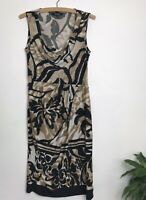 Star By Julian McDonald Size 10 Cowl Neck Sleeveless Bold Animal Print Dress