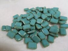 Bag of 100 Turquoise Picasso Rectanglur 8x12mm Czech Glass Beads Lot 27