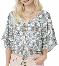 O'Neill SOMONE Womens Dolman Sleeves Top Size Small Off White Multi NEW 2017