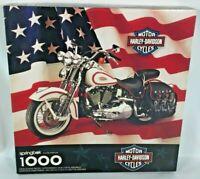 1998 Harley Davidson Motorcycles Puzzle 1000 Pieces USA American Flag Hallmark