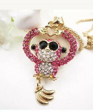 Betsey Johnson Necklace PINK MONKEY BUSINESS HEART Sunglasses Crystals Bling