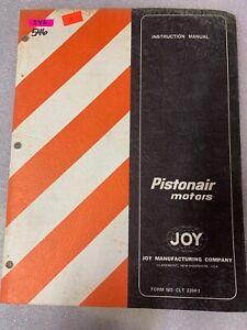 Joy Pistonair Motor INSTRUCTION Manual Book #546