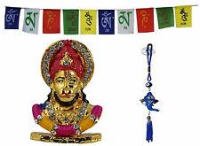 Lord Hanuman Idol Car Dashboard Figurine + Wall Hanging +Tibetan Flag