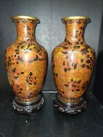 Pr. of 8.2'' Jingfa Cloisonne Enamel Vases Chinese Red Peony W/Stands 1970s