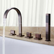 Bath-tub Waterfall Faucet With ABS Handheld Shower Oil Rubbed Bronze Three Knobs