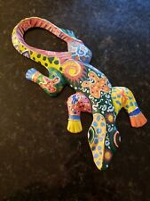Colorful Painted Wood Carved Lizard Wall Art Handmade Indonesia