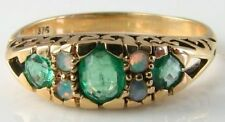 DIVINE 9CT 9K GOLD COLOMBIAN EMERALD & OPAL VINTAGE INS RING FREE RESIZE