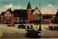 AK Stralsund, Bohnhof, Vorplatz, Pferdewagen, 1917, 11/12