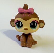 Littlest Pet Shop #600 Tan-Brown  Monkey, Green-White Diamond Eyes.