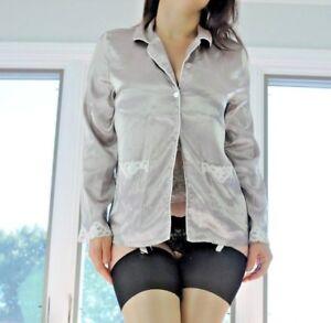 Gilligan & O'Malley Beige High Gloss Soft Satin Lacy Sleepshirt Pajama Top sz S