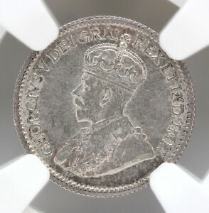 1912 Canada 5 Cents Silver KM22 George V NGC AU58 90251h