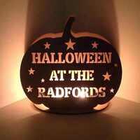 Personalised 'Halloween at the...' Pumpkin Tealight Holder Halloween Decoration