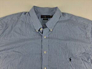 NEW Ralph Lauren Cotton Stretch 4XLT Blue Striped Shirt Long Sleeve Button Down